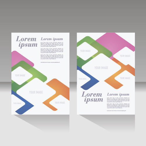 Colorful geometric figures brochure cover design vector