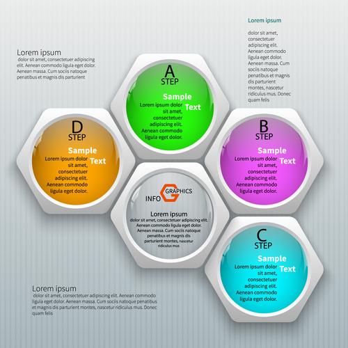 Colorful hexagon graphics info vector