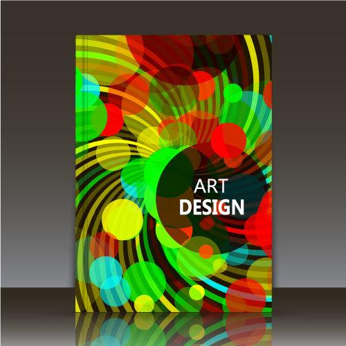 Colorful polka dot background brochure vector