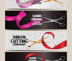 Colorful ribbon cutting invitation card banner vector