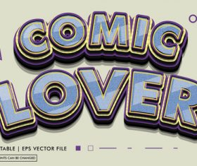 Comic lover editable text style effect vector