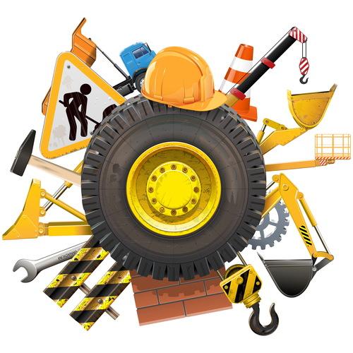 Construction concept with wheel vector