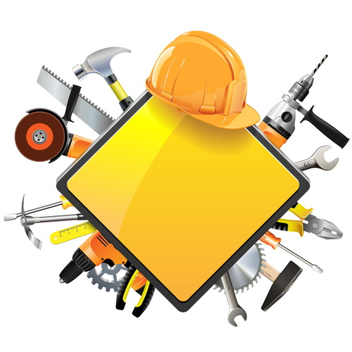 Construction sign with tools vector