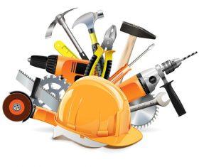 Construction tools with helmet vector