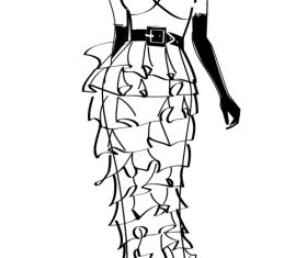 Cool woman sketch vector