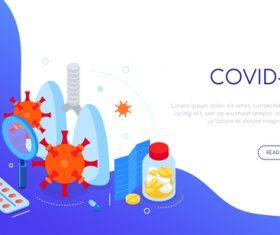 Covid-19 virus and medicine isometric web banner vector