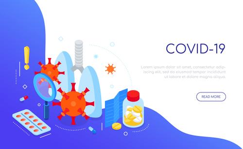 Covid 19 virus and medicine isometric web banner vector