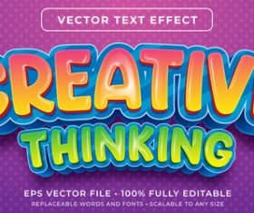 Creative thinking editable font effect text vector