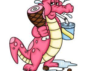 Crocodile eating food cartoon vector