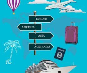 Cruise ship and air travel concept vector