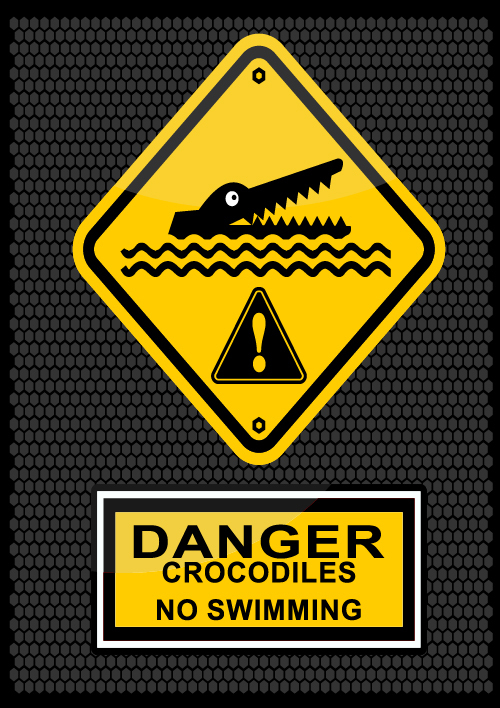 Danger crocodiles no swimming vector