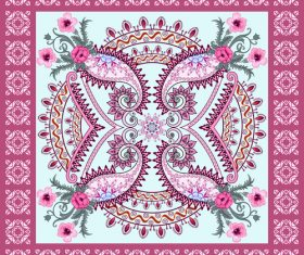 Decorated light pink paisley and flower vector