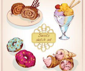 Dessert sketch set vector