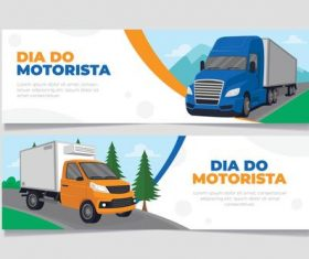 Dia do motorista banners vector