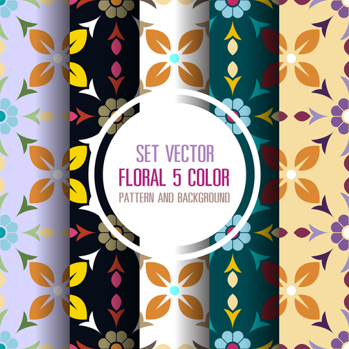 Different color floral pattern seamless background vector