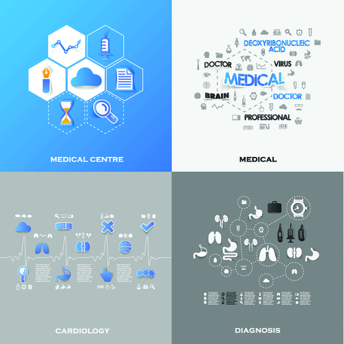 Different medical infographic vector
