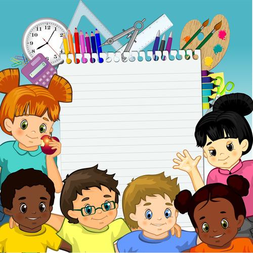 Different skin color children vector