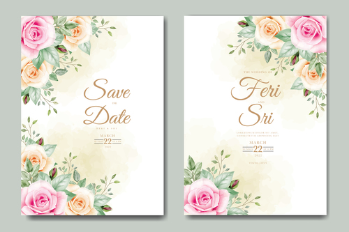Different styles of wedding cards vector
