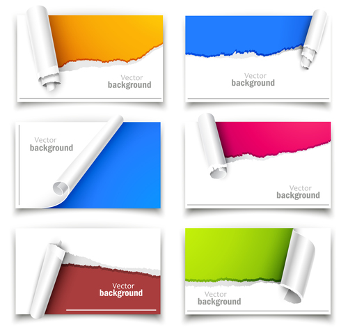 Different torn paper background vector