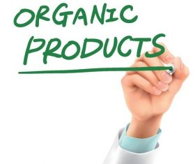 Doctor writing organic products words in the air vector