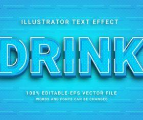 Drink illustrator vector text effect
