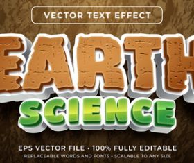 Earth science editable font effect text vector