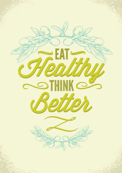 Eat healthy think better card vector