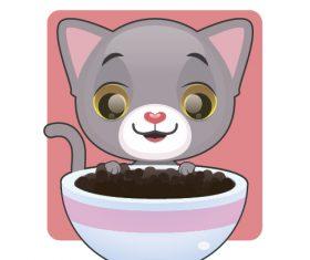 Eating cat food vector