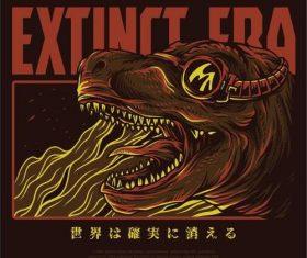 Extinct era T-shirt print pattern background vector
