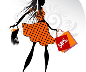 Fashion girls with shopping in vector
