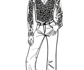 Fashion women sketch vector