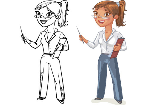 Female cartoon color and black and white image vector