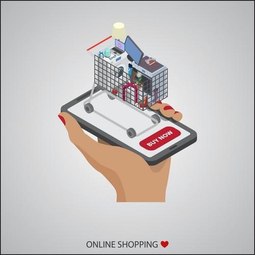 Feminine supplies online store concept vector