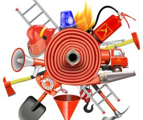 Fire prevention concept with firehose vector