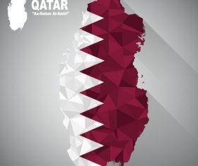 Flag Qatar vector on map