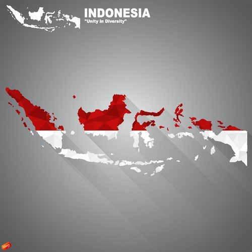 Flag of Indonesia on map vector
