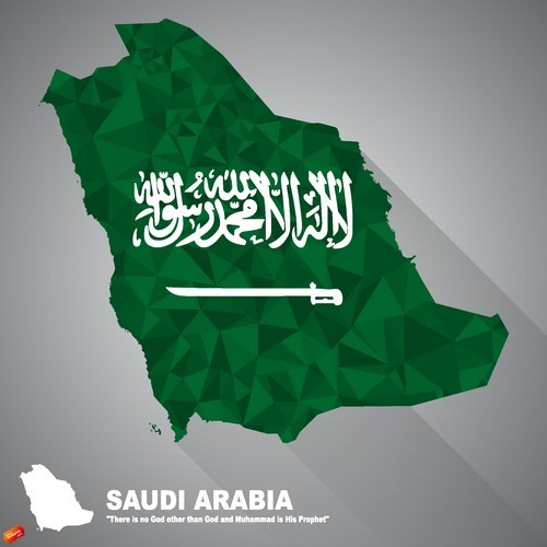 Flag vector on Saudi arabia map