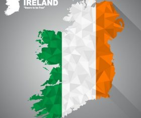 Flag vector on map of Ireland