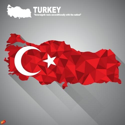 Flag vector on map of Turkey