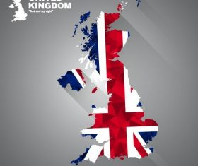 Flag vector on the map of united kingdom