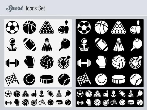 Flat Icon set sport vector