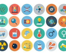 Flat science icons vector
