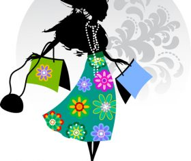 Floral dress woman silhouette vector