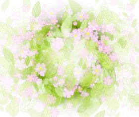 Flower and green leaf vector background