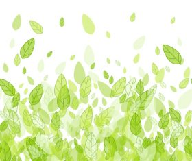 Flying green leaves vector background