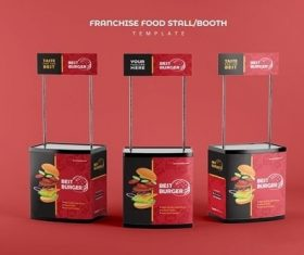 Franchise food stand booth vector