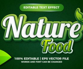 Fresh Nature Food editable text effect for logo design vector