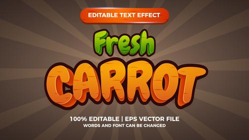 Fresh carrots editable text effect comic games title vector