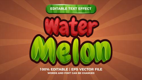 Fresh watermelon editable text effect comic games title vector