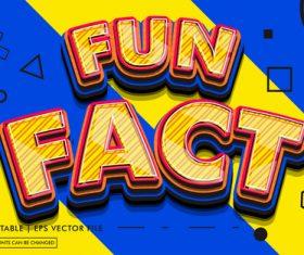 Fun fact editable text style effect vector